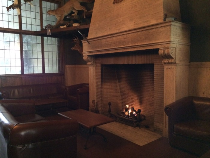 Fireplace at The Pan American Grill & Brewery