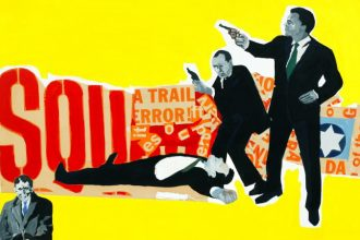 Rosalyn Drexler (American, born 1926). The Defenders, 1963. Acrylic and paper collage on canvas, 40 x 50 inches (101.6 x 127 cm). Courtesy the artist and Garth Greenan Gallery, New York. © 2016 Rosalyn Drexler / Artists Rights Society (ARS), New York and Garth Greenan Gallery, New York.