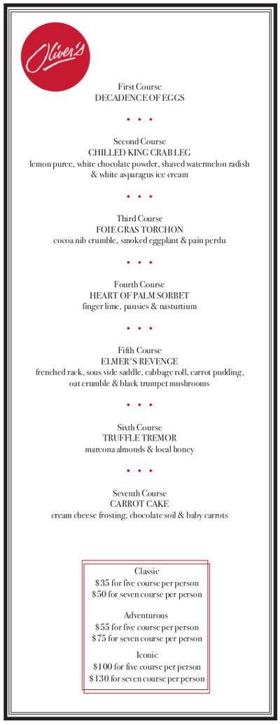 Oliver's Tuesday Tasting Menu