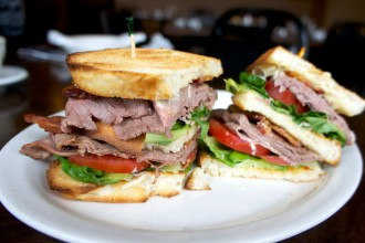 Brick Oven Bistro and Deli Roast Beef Club Sandwich