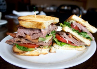 Brick Oven Bistro and Deli Roast Beef Club Sandwich
