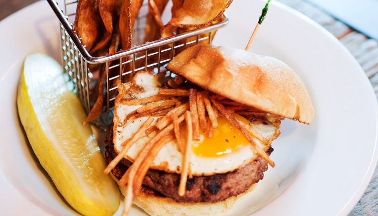 Steak & Eggs Burger at Soho