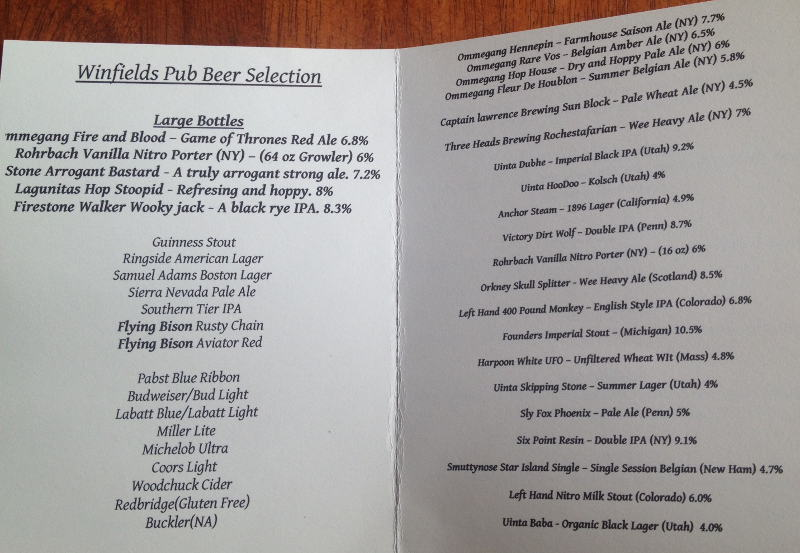 Winfield's Pub Beer Menu