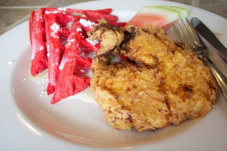 Chicken and Red Velvet Wafflles