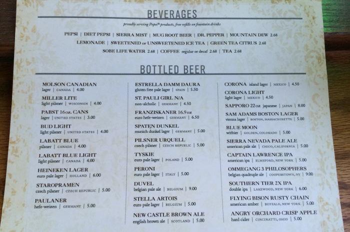 Ulrich's Beer Menu