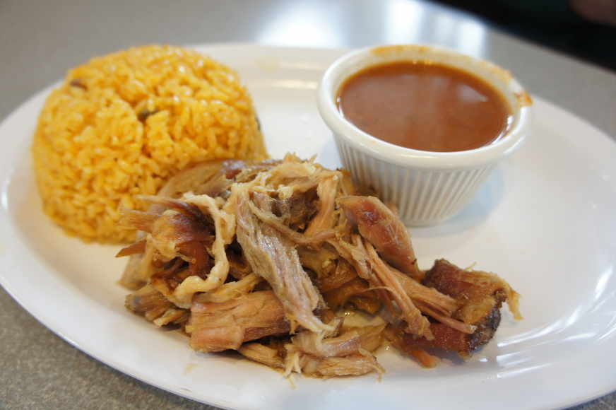 Pernil (roasted pork) lunch
