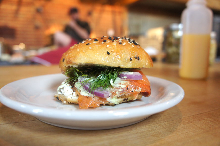 Lox and cream cheese on a bialy
