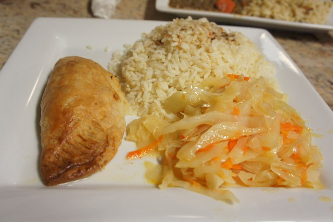 Beef Pie, Mixed Vegetables & Ginger and Garlic Rice