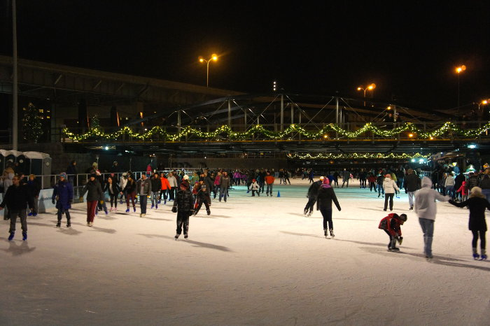 ice skating at Canalside