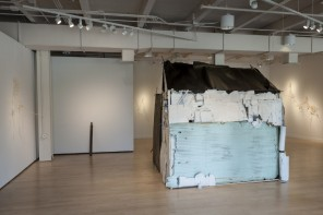Dwelling (side view), cardboard, wood, tar paper, house paint, dimensions variable, 2014 / By Laura Borneman