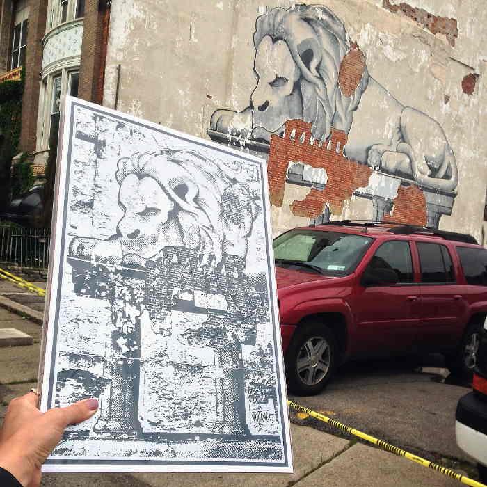 """""""Resting Lion"""" - Street Art in Buffalo NY"""