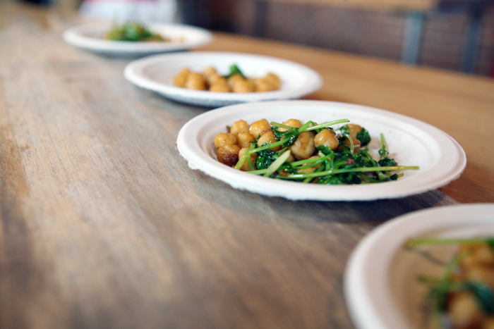 Sauteed Chickpeas with pea shoots, pimenton, olive oil