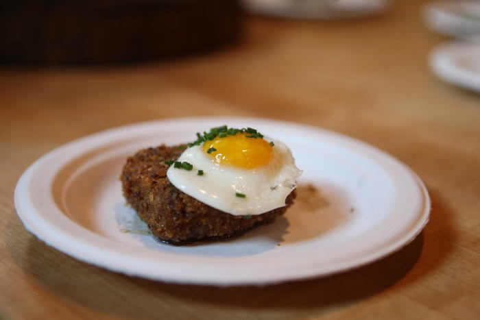 Pig head fritter with piquillo pepper puree and quail eggs