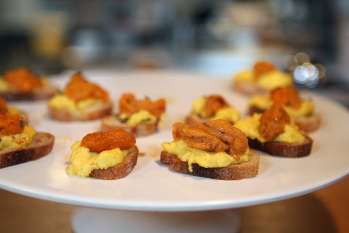 Tapas Night at Elm Street Bakery - Step Out Buffalo, Eggs with sea urchin on baguette