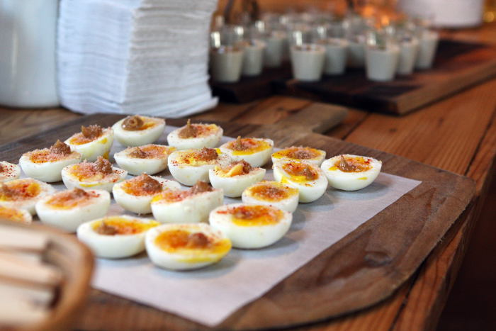 Tapas Night at Elm Street Bakery - Step Out Buffalo, Soft boiled egg with confit garlic and mojama