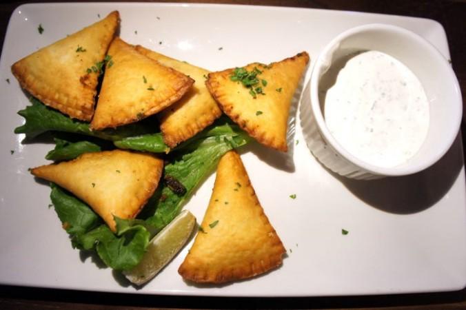 Antojitos with cilantro sour cream