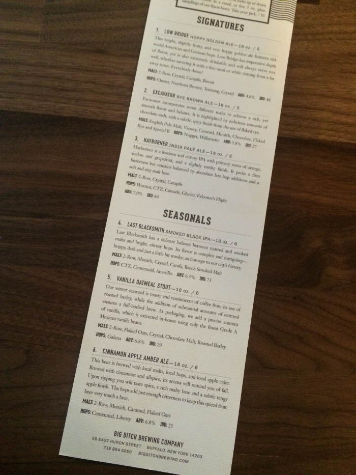 Big Ditch Brewing Co. in Buffalo NY - Beer Menu