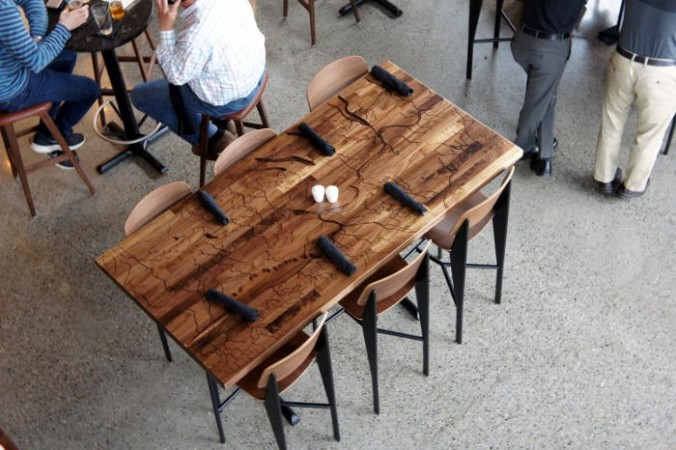 The Erie Canal carved into the table