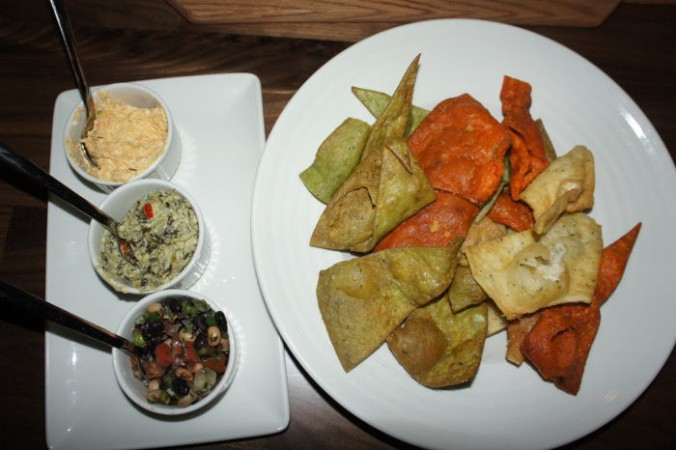 Flight of Dips - Cheesy Spinach Artichoke, Spicy Buffalo Chicken & Cool Bean Salsa with housemade tortilla chips / Step Out Buffalo