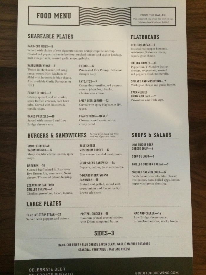 Big Ditch Brewing Co. in Buffalo NY - Food Menu