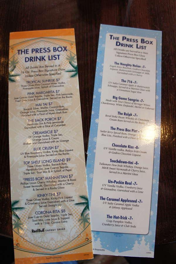 Drink menus