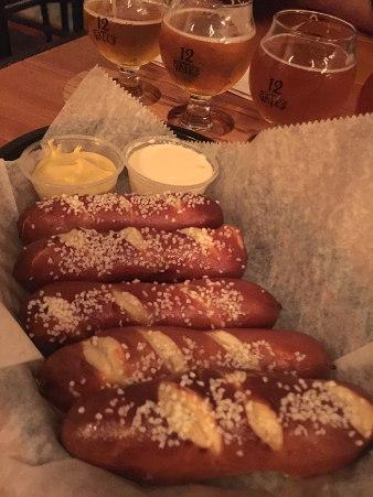 soft pretzels at 12 Gates Brewery