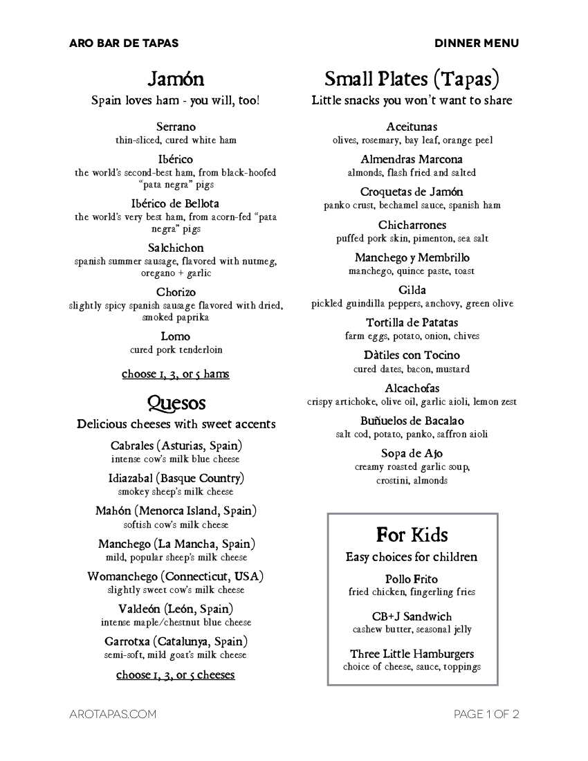 Aro Bar de Tapas Dinner Menu