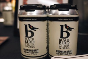 Cans of BlackBird Cider