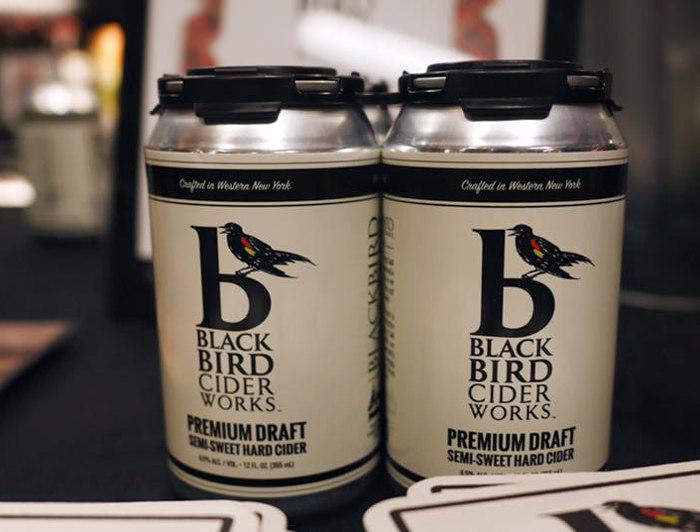 Cans of BlackBird Cider