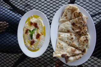 Hummus and Naan, kabab and curry