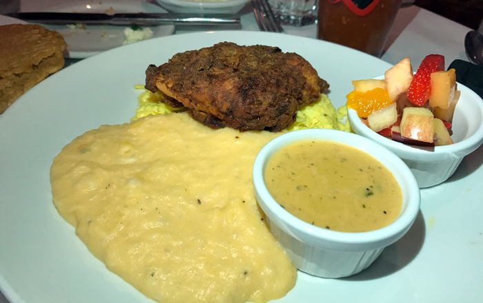 Fried Chicken Breast, Scrambled Eggs and grits