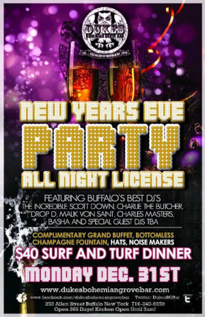 NYE Grand Buffet, DJ's and All Night License for VIP's