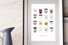 coffee cups of buffalo print