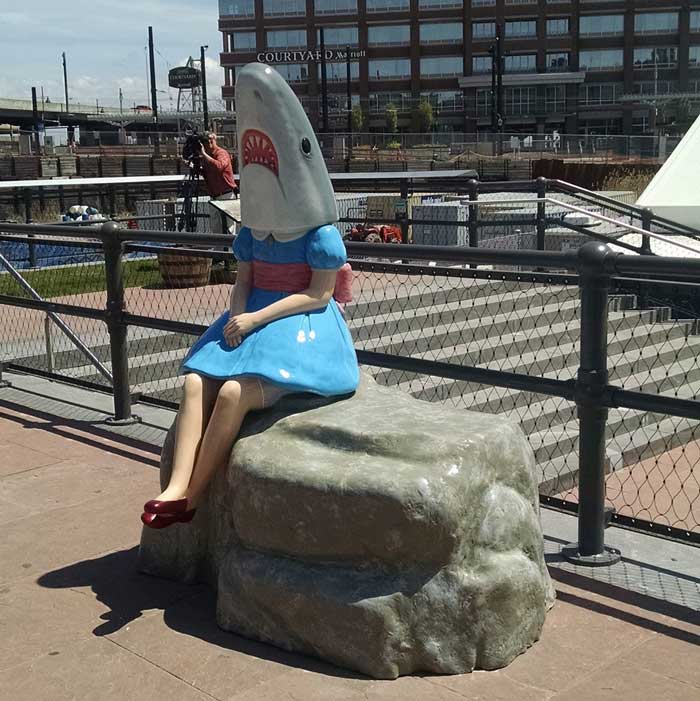 public art: shark girl