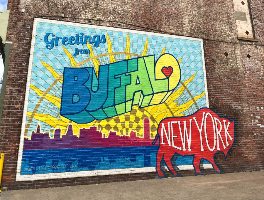 Greetings From Buffalo mural by Casey Milbrand / Photo x Step Out Buffalo